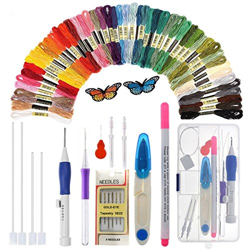 Set ricamo magico, insany ago magico cuciture punch aghi set di strumenti artigianali combinazione tra cui 50 fili di colore per cucito fai da te cucitura a croce