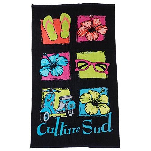 CULTURE SUD - Bulina multiolor - Serviette de Bain Drap de Plage - Noir - Taille Unique