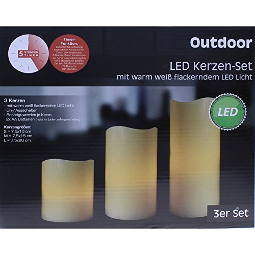 "LED Kerzen-Set ""Outdoor"", 3-teilig, mit Timer"