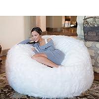 كرسي بين باج من الفوم المتكيف من كومفي ساكس Plush Fur, White