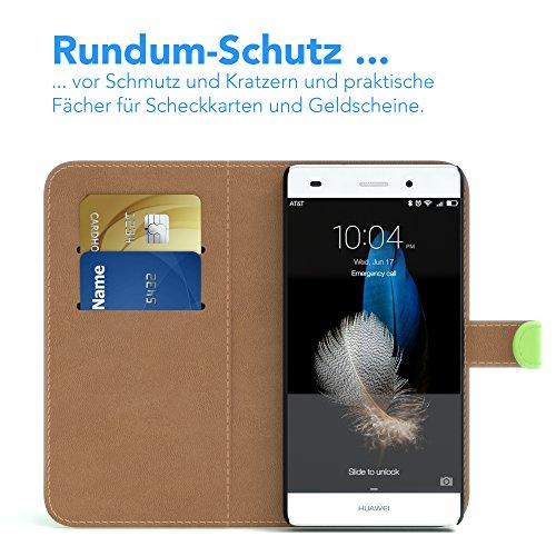 Huawei P8 Lite (2015) Hülle - EAZY CASE Premium Flip Case Handyhülle - Schutzhülle in Braun Grün (Book)