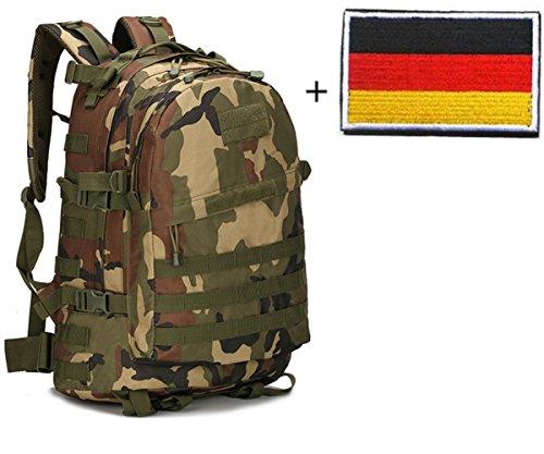 Aidonger Militärischer Taktischer Wanderrucksack 3 Tage Assault Pack Molle Camping Rucksack + Taktischer Patch (Armee Grün)