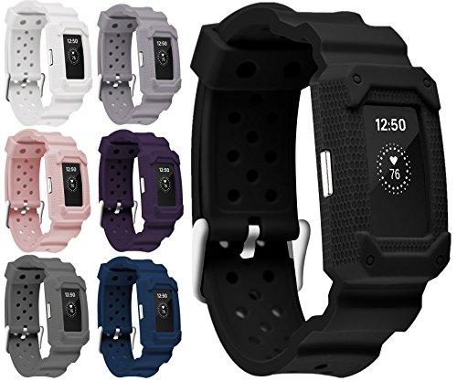 Greatfine Armband zubehör für Fitbit Charge 2 Armband Zur Herzfrequenz und Fitnessaufzeichnung (Black2)