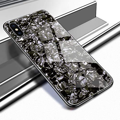 Caler Cover kompatibel mit iPhone XS Max Schutzhülle aus gehärtetem Glas 9H 【Kratzfest】 + Rahmen aus TPU Silikon 【Stoßstange】 3D Design Vogue Ultra Chic Lusso Bella