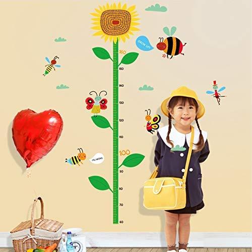 QHDZ Papier Peint Créative Soleil Fleur Grandir Hauteur Mesure Règle Pépinière Enfants Enfants Chambre Amovible Carreau Stickers Muraux Decal Decor Art Peintures Murales