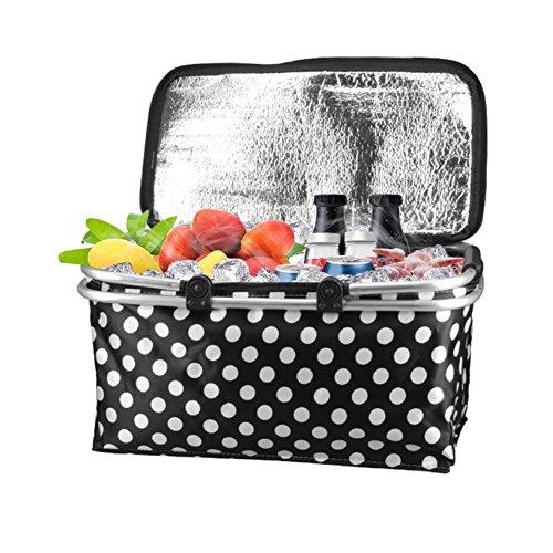 Vkaiy 30L Faltbare Picknickkorb, Wasserdicht Kühltasche Kühlkorb Einkaufskorb Kühler Isolierte Picknick Tasche Für Lebensmittelgeschäft, Shopping (Black)