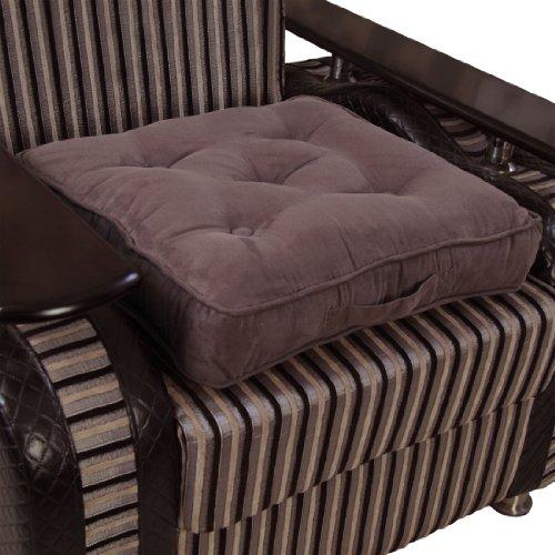 Homescapes extrahohes Sitzkissen orthopädisch Sitzerhöhung Aufstehhilfe ca. 50 x 50 x 10 cm, Bezug aus hochwertigem Velours, 100% Polyester Füllung, uni schokobraun