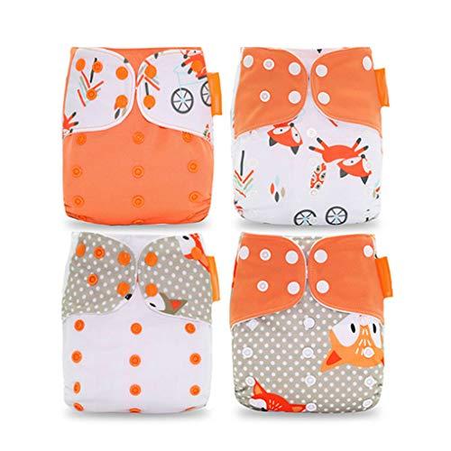 babysbreath17 4pcs Baby-Mehrwegwindeln waschbarer Polyester-Tuch-Windel Geeignet für Kleinkind-Alter 0-3 Jahre alt 2 Free Size