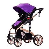 SJZC Kinderwagen Kombikinderwagen Baby Stroller Babybett Stubenwagen Babyschale,Purple