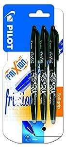 Pilot Frixion Erasable Rollerball Pen 0.7 mm Tip - Black, Pack of 3