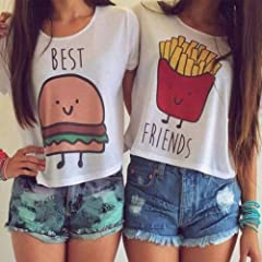 Idea Regalo - QHGstore Donna cotone Best Friends maglietta divertente maglietta della stampa supera manica corta Tee Shirt NO.1 M