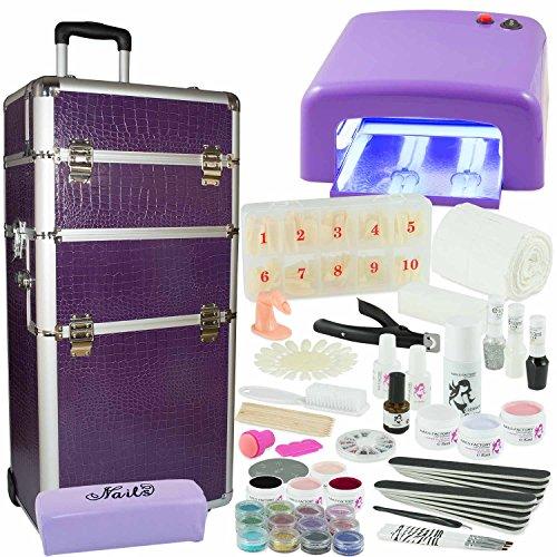 Kosmetiktrolley XXXL Starter Set Purple Dreams-Nagelset mit Nailart, UV-Lampe und UV Gel ideales Starterset