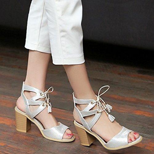 COOLCEPT Damen Mode Schnurung Sandalen Open Toe Blockabsatz Slingback Schuhe Silber