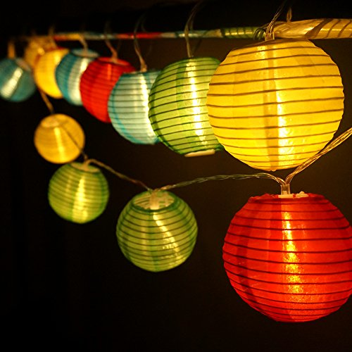 Birne Led Outdoor Laterne (HQOON Außen Lichterkette mit Mini Nylon Laterne, LED Fee decorative Lichterkette, 3 AA Batterie [nicht im Lieferung enthalten], 2 Modell von der Beleuchtung, 10ft / 3m, 20 Led Birnen und Laternen Ideal für Indoor und Outdoor)