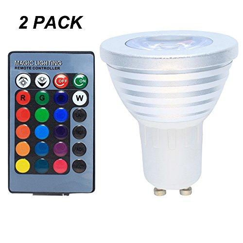 2er Pack GU10 LED RGB Farbwechsel Lampe 3 Watt mit Fernbedienung Farblicht Lampe Strahler Glühbirne Birne Leuchtmittel Spot AC85-265V