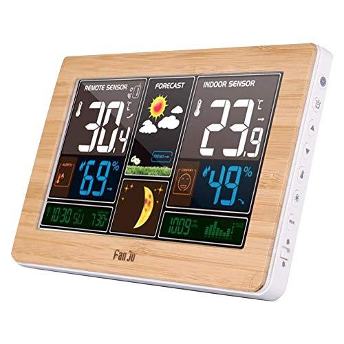 Comaie Funk-Wetterstation Digital Prognose Indoor Outdoor Thermometer Temperatur Luftfeuchtigkeit Barometer Mondphasenuhr Sensor Holzmaserung Hygrometer USB-Ladeanschluss Ausgang