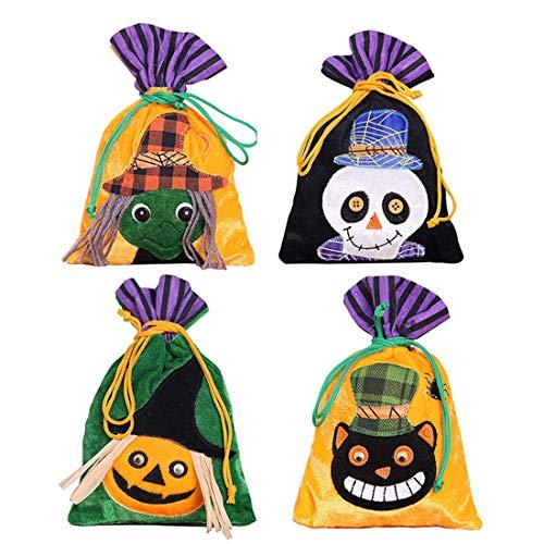 (VJUKUBWINE Halloween Portable Non-Gewebte Stofftasche Ghost Festival Kinderdekoration Requisiten Spielzeug Dress up Accessoires Kürbis Beutel Geschenktasche Candy Bag Requisiten Tasche 4 Pack)