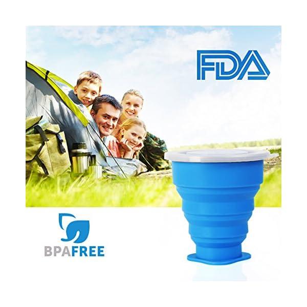 WEINAS 2 pcs Vaso de Agua de Silicona Plegable Portátil Retráctil 200ML Botella de Agua Reutilizable Taza Vaso de Viaje… 4