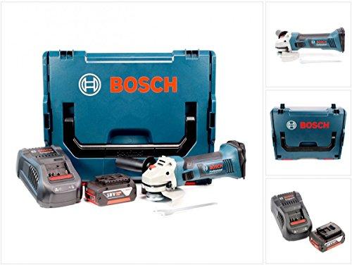 Preisvergleich Produktbild Bosch GWS 18-125 V-LI 125 mm Professional Akku Winkelschleifer mit Bosch L-Boxx, Schnellladegerät und 1x GBA 6 Ah Akku