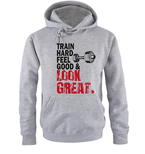 Comedy Shirts - TRAIN HARD & LOOK GREAT - DELUXE - Uomo Hoodie cappuccio sweater - taglia S-XXL different colors grigio / nero-rosso