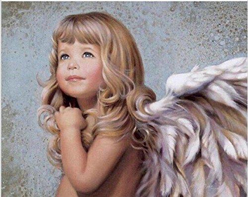 YEESAM ART Neuerscheinungen Malen nach Zahlen für Erwachsene Kinder - Baby Mädchen Engel 16 * 20 Zoll Leinen Segeltuch - DIY ölgemälde ölfarben Weihnachten Geschenke
