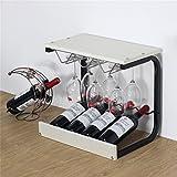 JIA JIA HOME Estantes del vino Adornos caseros de madera de pie libres Soportes del calcetín Upside Down Wine Glasses Estante de exhibición del vino de la tabla del estante, L43.5 * D31 * H39.8cm ( Color : Blanco )