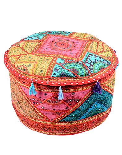Ethnic Ottoman Olive Green Cotton Floral Patch Work Pouf Cover By Rajrang