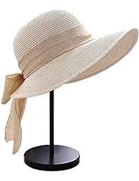Butterme Femmes Filles Pliable Paille Chapeau de soleil, Large bord Sun Visière Chapeau de seau, casquette de plage d'été avec Big Bowknot Décoration Avec le paquet Carton
