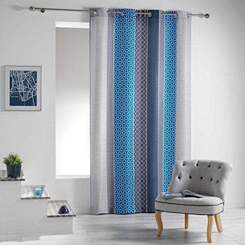 Douceur d'intérieur - tenda con occhielli, in poliestere, poliestere, blu, 260x140 cm