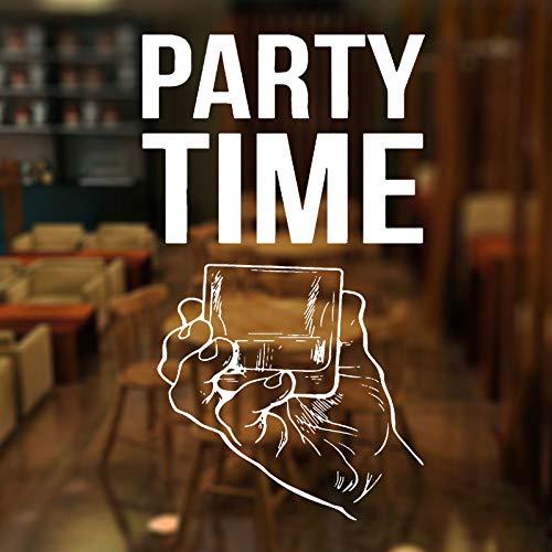 zzlfn3lv Party Time Quote Fenster Aufkleber Vinyl Bar Alkohol Restaurant Whisky Tequila Wein Getränk Wandtattoos Abnehmbare wasserdichte 42 * 72 cm (Getränke Wandtattoo)