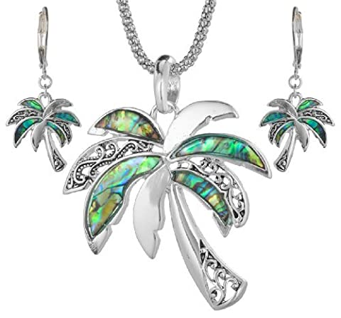 Green Abalone Palm Tree with Filigree Pattern in a Silver-tone Popcorn Chain & Earrings by Jewelry Nexus