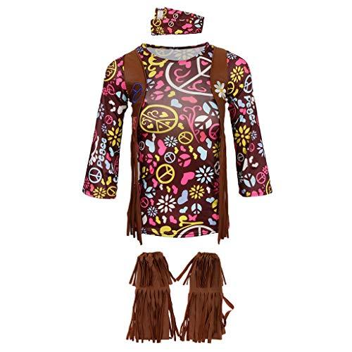 MagiDeal Kinder Mädchen Hippie 60er Jahre Verkleidung Fancy Dress Up Party 70er Jahre Kostüm zu Karneval Fasching Halloween - S