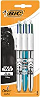 Star Wars BIC 4 Couleurs Shine Stylos-Billes - Corps Métalliques Assortis, Blister de 3