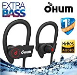 OHUMLABS Sports Waterproof Wireless Bluetooth Earphones with Stereo Sound and Hands-Free Mic (Black)