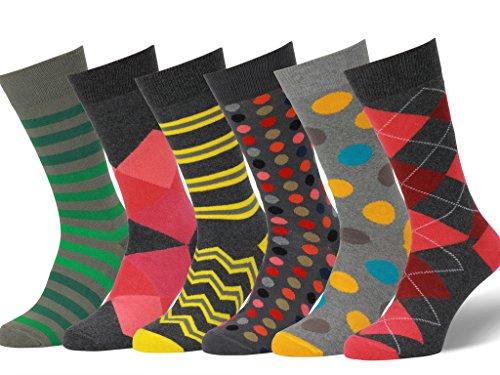 Easton Marlowe 6 Paar Fein Gemusterte Kleidersocken, 6 pairs, charcoal/grays - maroon/reds/greens/yellow hues, Gr. 43 - 46 EU Schuhgröße