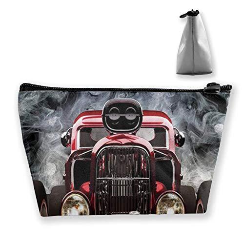 American Hot Rod Roadster mit Rauch Hintergrund Reise Make-Up Tasche Kosmetiktasche Organizer Aufbewahrungstasche