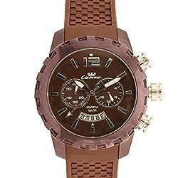 valentine gifts : Ciemme valentine sale Mens Luxury Casual Swiss Quartz Movement Brown Silicon Strap Luminous Hand Brown Dial Wristwatch