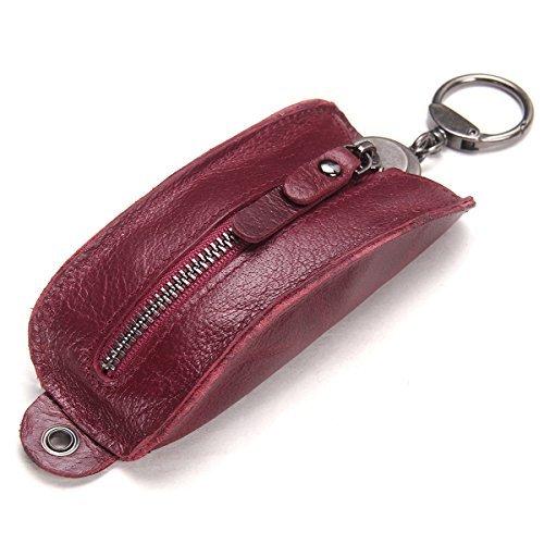 Contacts Porte-clés en cuir Véritable Porte-clés Zipper Key Holder Bag pour Hommes Femmes (rouge)