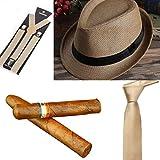 thematys Al Capone Mafia Gangster Hut + Krawatte + Hosenträger + Zigarre - 20er Jahre Kostüm-Set für Damen & Herren - perfekt für Fasching & Karneval (Hellbraun)