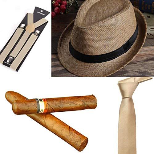 thematys Al Capone Mafia Gangster Hut + Krawatte + Hosenträger + Zigarre - 20er Jahre Kostüm-Set für Damen & Herren - perfekt für Fasching & Karneval (Hellbraun) (Männer Mafia Anzüge Für)