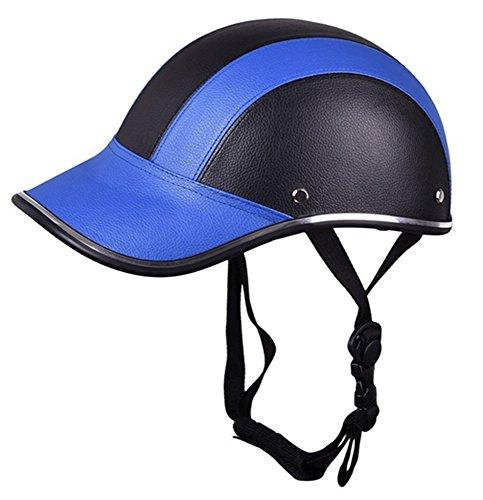 Motorrad Hälfte Gesicht Helm Schutz Helme Pferd Reiten Helm Leder Baseball Deckel zum Männer Frau Mädchen 5 Farben (Blau)