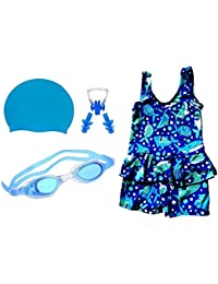 6534da0f3a288 Golden Girl Girls Swimming Kit with Swimming Costume Swimming Goggles  Silicone Swimming Cap 1 Nose Clip