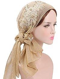 BIRAN Señoras Musulmanas Turban Hijab con Seda Pañuelo Islámicas Gorra  Retro Bastante Headwear Diadema Estiramiento Wrap cb1fb967024