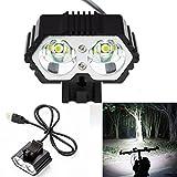 Taschenlampen, 6000LM Fahrrad-Scheinwerfer2 X CREE XM-L T6 LED USB-wasserdichte Fahrrad-Lampe by OHQ (Schwarz)