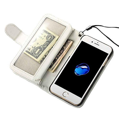 iPhone Case Cover Pour iPhone 7 texture de tissage simple texture horizontale Flip étui en cuir avec 2 pages de fentes pour cartes et porte-monnaie et cadre photo et lanière ( Color : Red ) White