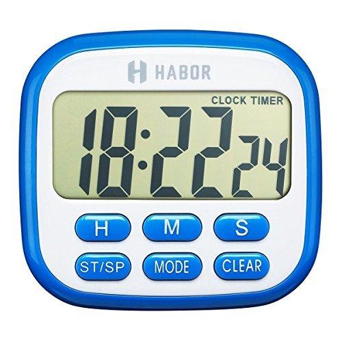 Habor Küchentimer Digital Timer Eieruhr, Küchenwecker, Küchenuhr, Zeitmesser, Stoppuhr, LCD Display, 24h Countdown mit Piepton, Magnete und einklappbarer Ständer, ideal für Küche Kochen, Grill, Backen usw.