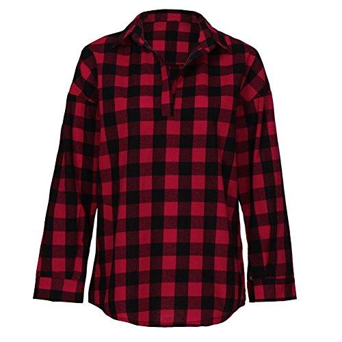 Damen Plaid Langarm Bluse DOLDOA Frauen Oberteile T-Shirt Tops