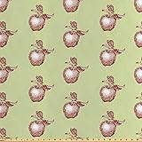 ABAKUHAUS Apfel Stoff als Meterware, Vintage Stiele Blatt