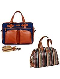 The Maker Combo Of Men's Tan, Blue Hush Laptop Bag With Women's Multicoloured Kilburn Duffle Bag