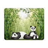 Yanteng Alfombrilla de ratón para Juegos, Alfombrilla de ratón Dos Pandas en el Bosque de bambú Alfombrilla de ratón de Trabajo Computadora de Escritorio PC Alfombrilla para ratón